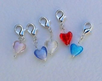 Crochet Stitch Markers    Glass Hearts