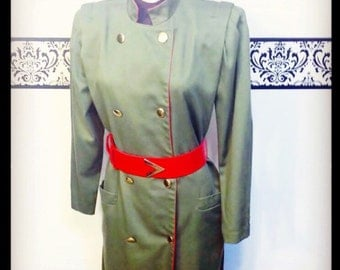 1980's Military Dress by Mr Mort, Size 10, Medium Large, Vintage Air Force Women's Dress, 80's Army Pin Up Dress, Rockabilly Army Dress
