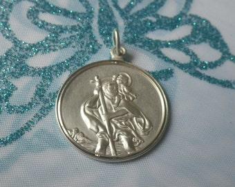 Vintage Sterling Silver St Christopher Pendant