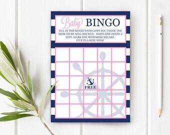 Baby Bingo Nautical Baby Shower, Instant Download, 5x7 Item 201