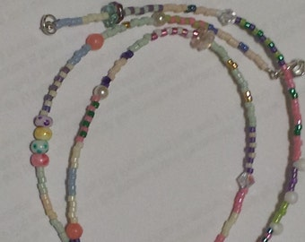 Ice Cream Sherbet pastel 11/0 miyuki seed bead necklace pink coral and Swarovski crystal accent