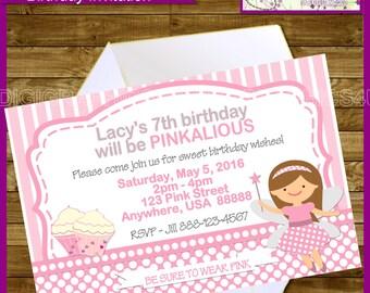 Pinkalious Girl's Birthday Party Printable Invitation Digital File