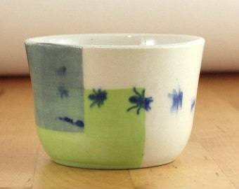 Ceramic Whiskey Cup - Sake Cup With Ant Design - Little 5 Ounce Teacup