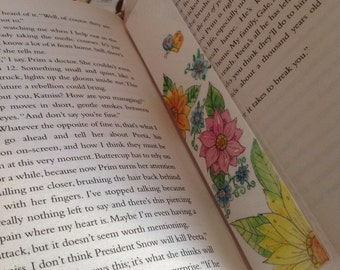 Bookmarks with original illustration -vibrant flowers and butterflies