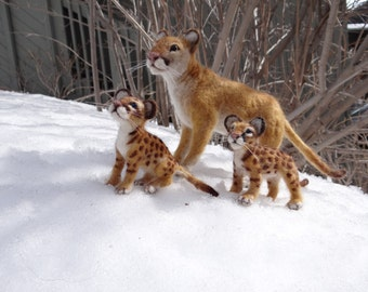 Mountain Lion Mom and Her Two Kittens Needle Felted Wool  by Carol Rossi, Cougar, Puma, Panther