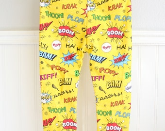 Baby and Toddler Leggings- Superhero/Pow! Bam!/Comic Book Sound Effects White Or Yellow
