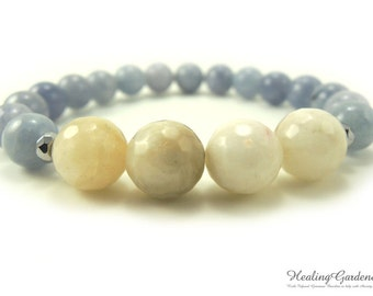 Moonstone and Aquamarine Bracelet / Stress and Anxiety Relief / Hot Flash Relief / Energy Bracelet / Love / Healing Garden Shop