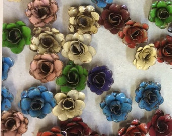 "Rustic metal rose  - approx 1"" (many colors available)"