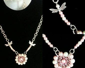 Handmade peal pink flower and dragonfly necklace