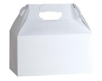 "12 - White Gloss Gable Boxes 9 1/2"" x 5"" x 5"" ~  9 1/2 x 5 x 5 Gift Favor DIY Packaging"