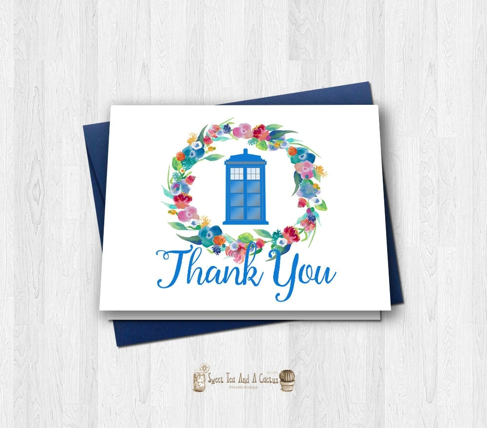 Doctor Who Thank You Card Tardis Inspired Vibrant Floral Flower