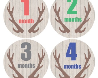 Baby monthly stickers, Deer Antlers Monthly Stickers, Brown Baby Boy month stickers, Newborn Photo props, Hunting Monthly stickers,  A146