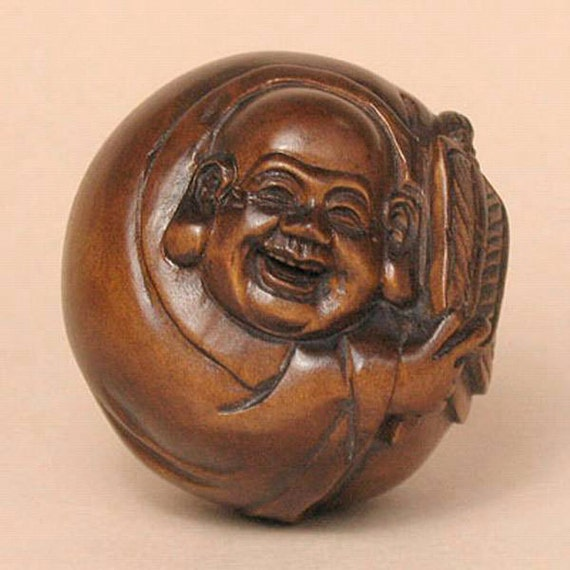 Handcrafted boxwood wood buddha ball netsuke signed by tideart