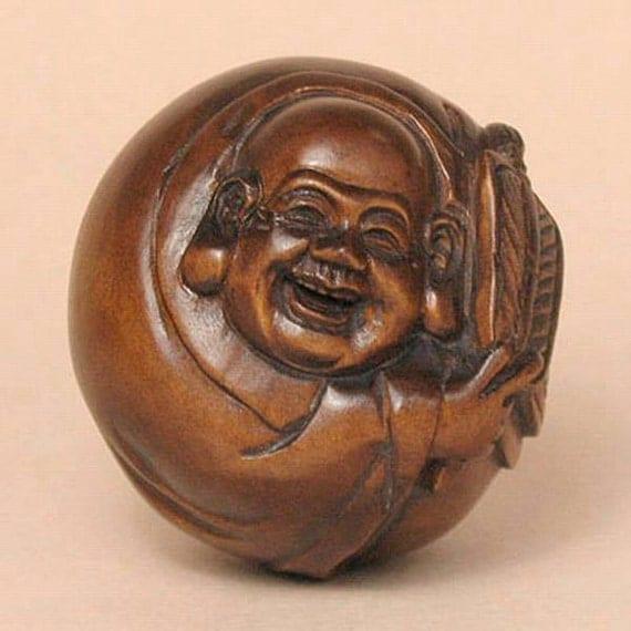 Handcrafted boxwood wood buddha ball netsuke signed by tideart