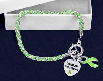 Lymphoma Lime Green Ribbon Rope Bracelet (Retail) (RE-B-02-9LY)