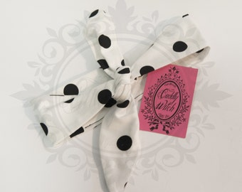 Rosie headband head wrap white big black polka dots - rockabilly pin up rock'n'roll retro style bow 50s