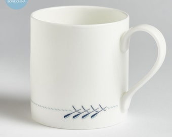 Rowing Boat Mug, English Fine Bone China, Hand-decorated, Gift for Rowers, includes Gift Box