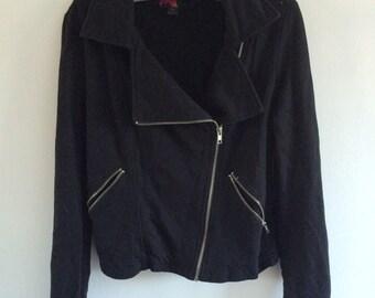 Black A-Symetric Moto Jacket L