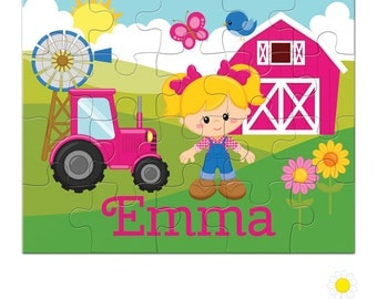 Personalized Puzzle for Kids - Girl Farmer Puzzle with Name - Farm Custom Name Jigsaw - Personalized Farm Puzzle - Girl Birthday Gift