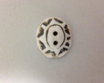 """Handmade Porcelain Buttons -  White Star Flower design - approximately 1"""""""