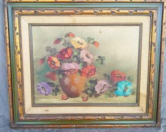 Vintage Old Original Floral Still Life of Flowers Oil Painting Carved Frame