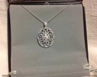 """Oval Floral Pendant With Natural Diamonds Set In 925 STerling Silver With 18"""" Chain"""
