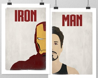 IRON MAN Poster Set, Avengers Minimalist Movie Posters, Large Wall Art, College Student Gift Dorm Decor, Gift for Him, Art Print, Double