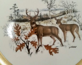 White Tailed Deer Buck and Doe by Pickard Co. made in USA.