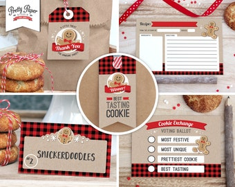 Holiday Cookie Exchange Party Pack // INSTANT DOWNLOAD // Buffalo Plaid // Christmas Cookie Swap // Printable Kit CE02