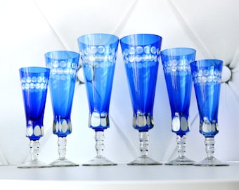 SEt of 6 Cobalt blue Goblets, Cobalt Blue Glasses, Bohemian Goblets, champagne glass, Wine Glass Set, Mad Men Bar, Victorian Wedding