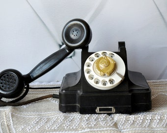 SALE!!!! Antique Rotary Phone, Vintage Art Deco Telephone, emblem USSR,  Black  Phone