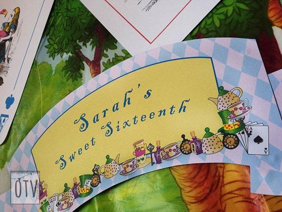 Alice in Wonderland - Personalised - Sign - Mat Hatter - Tea Party Pink - Purple - Birthday - Shower - PRINTABLE - Pdf - Digital File