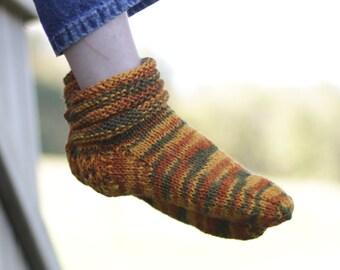 Hand Knitted Slipper Socks in Orange, Gold & Green