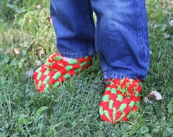 Hand Knitted Kid's Slippers in Red & Lime Green