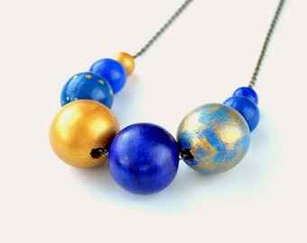 Wooden bead necklace,wooden necklace,beaded necklace,handpainted necklace,blue necklace,antique gold necklace