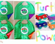 Teenage Mutant Ninja Turtles Cape and Optional matching Felt Mask Birthday Party Favors  READY TO SHIP