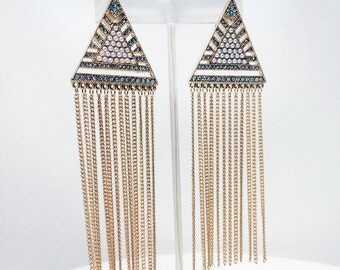 Post triangle statement earrings with chain fringe and ornate Pavé crystal and pearl detail