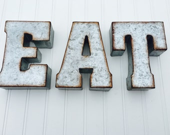 EAT or YUM Metal Letters- Yum Sign - Eat Sign - Kitchen Decor - Rustic Letters