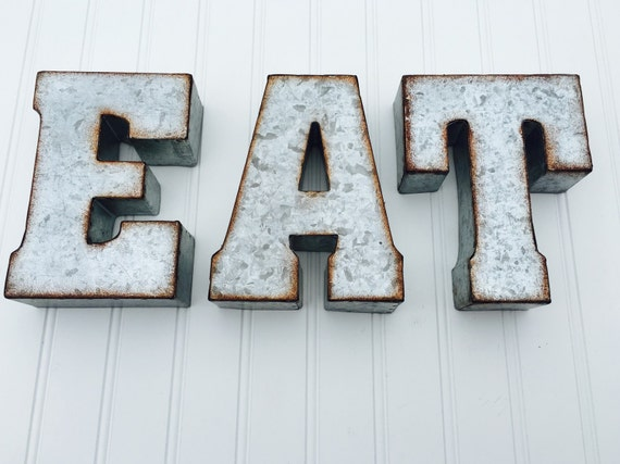 Eat Or Yum Metal Letters Yum Sign Eat Sign By Penelopemaydecor