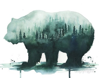 Watercolor Painting Print 'A Natures Walk' -- Blue Home/office decor and wall art, Animal print of Bear