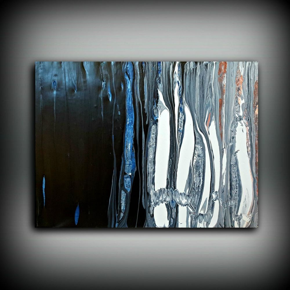 White black blue painting 12x16 abstract painting for Acrylic wall art