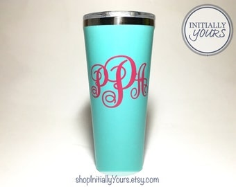 Monogram Decal for Corkcicle 24oz, Corkcicle Personalized Vinyl Sticker, Corkcicle Cup Decal, Corkcicle Tumbler Decal Monogram, DECAL ONLY