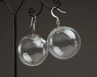 Transparent hollow ball lampwork earrings, clear earrings, transparent earrings, bubble earrings, ball earrings, orb earring, sphere earring