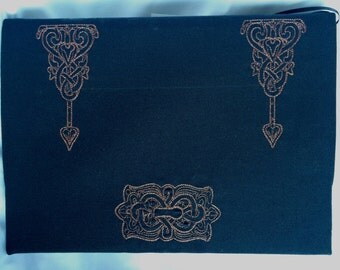 Embroidered Journal - Large Lined Blank Book - Copper Stitching