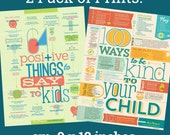 2-Pack Small Prints 100 Ways to Be Kind + 64 Positive Things 9x12""