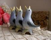 Vintage Porcelain Funnel Pie Bird, Blue Song Bird Pie Chimney, Open Yellow Beak, Pie Vent, 3pc Set, Bird Lover, Gift For Her, Pie Maker
