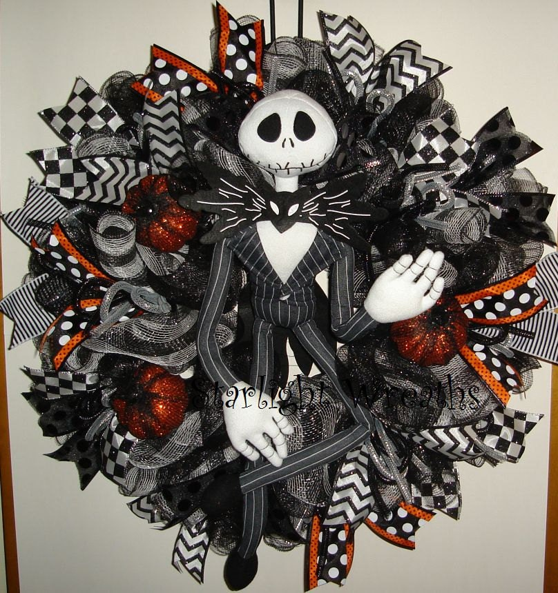 Jack skellington mesh wreath nightmare before christmas mesh - Jack skellington decorations halloween ...