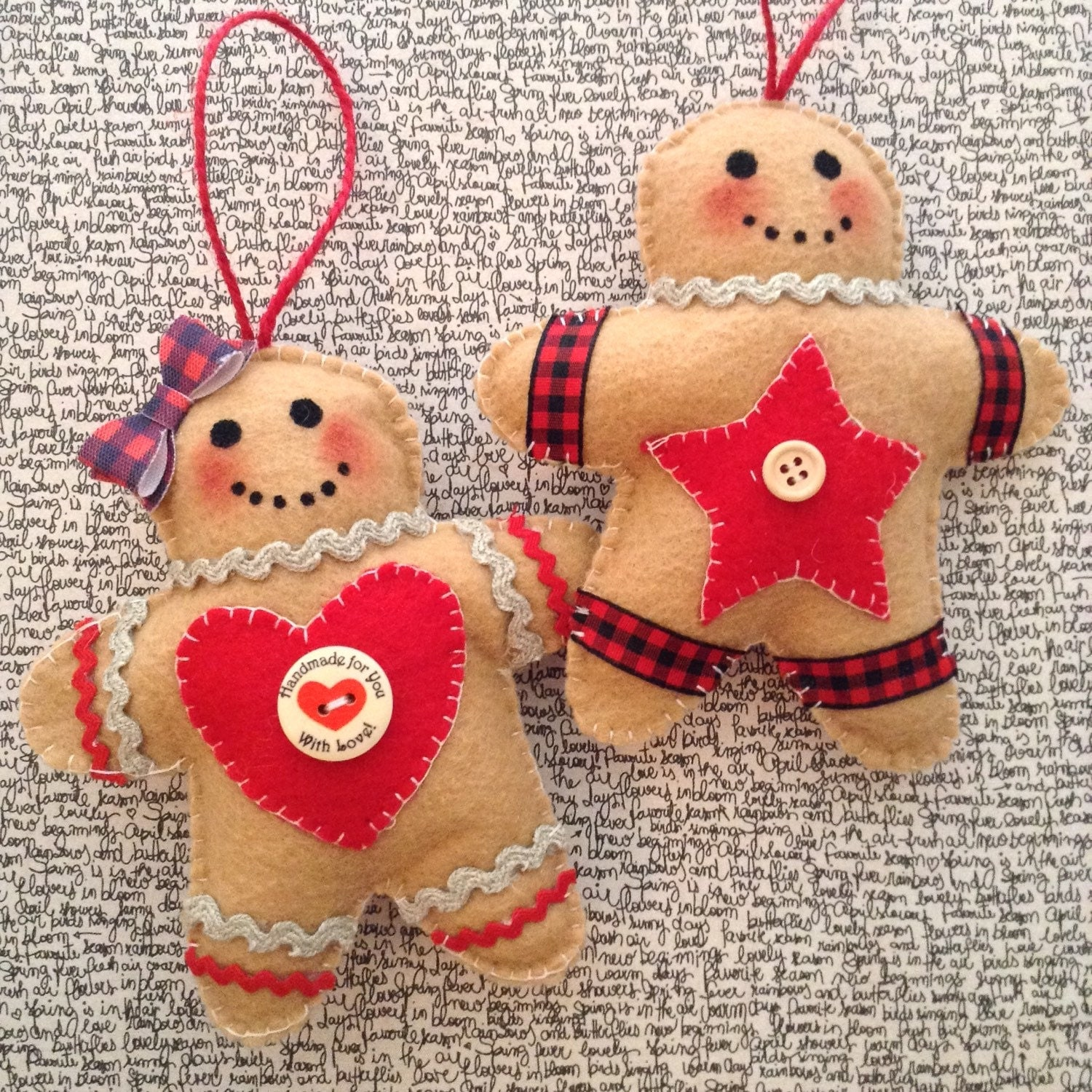 Gingerbread Ornaments / Christmas Tree Ornaments / Felt