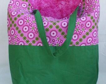 Tote Bag - Maxi Emily Green Pink Floral Diamonds