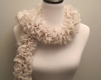Soft and Lovely Ruffled Fabric Scarf